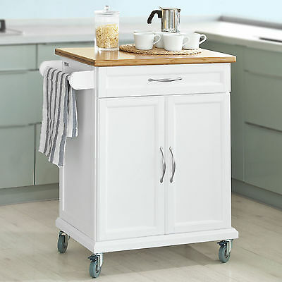 SoBuy® Kitchen Cabinet Kitchen Storage Trolley Cart with Bamboo Top,FKW13-WN, UK