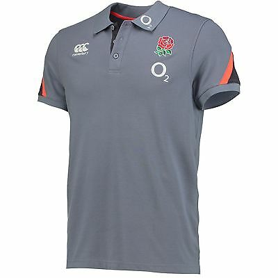 Canterbury Mens Gents England Rugby Cotton Training Polo Shirt Top - Grey