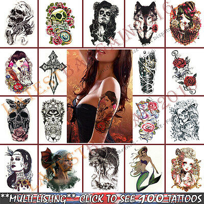 Temporary Tattoos Removable 3D Waterproof Stickers Back Arm Wolf Body Skull Rose