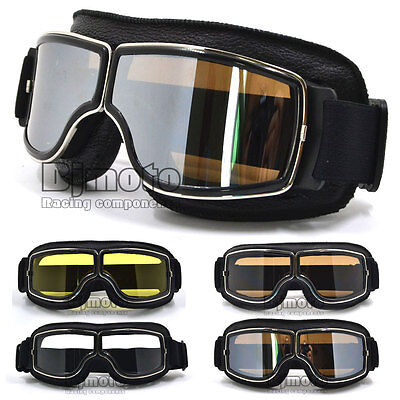For Motorcycle Harley Leather Vintage Scooter Goggles Ski Glasses Retro Helmet