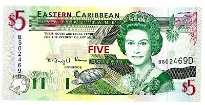 East Caribbean States ... P-31d ... 5 Dollars ... ND(1993) ... *UNC*