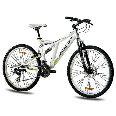 """26"""" Zoll MTB MOUNTAINBIKE FAHRRAD KCP ROOSTER SHIMANO weiss VOLLFEDERUNG B-WARE"""