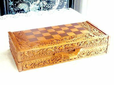 Wonderful Vintage Hand Crafted Wooden Chess Set With Board Indonesia C 1980's