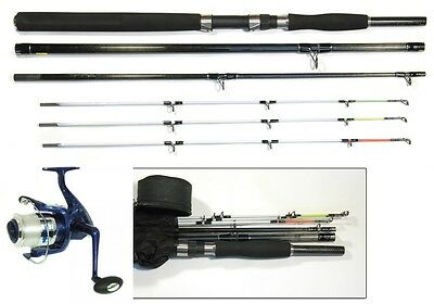 Bison Multi Tip Sea Boat Pier Spin Travel Rod & Reel Kit