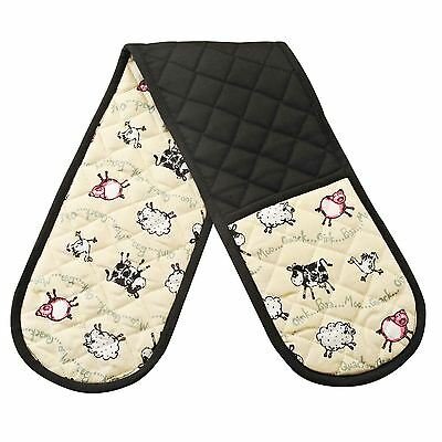 Luxury Farmyard Cow Pig Sheep Duck Kitchen Double Oven Gloves Black 100% Cotton
