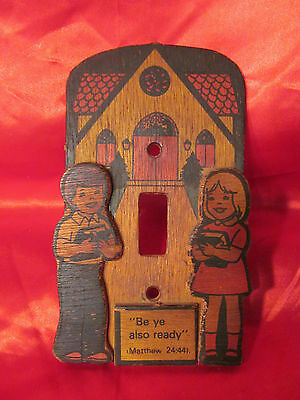 Vintage Childs Wooden Light Switch Plate