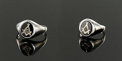 Solid Silver Masonic Ring with Onyx Square and Compass With or Without G