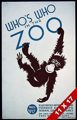 Vintage Who'S Who In The Zoo Monkey Book Cover Poster Retro Wpa Art Print