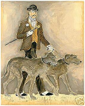 SCOTTISH DEERHOUND IRISH WOLFHOUND DOG ART PRINT - Smart Man with Two Hounds