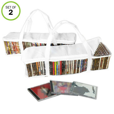 Evelots CD Portable Zippered Clear Storage Bags- Holds Up To 94 Total, Set of 2