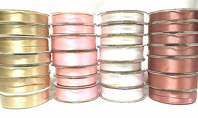 Craft Gold Silver Pink White Sparkly Satin Christmas Ribbon Gift Wrapping