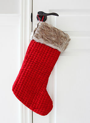 Brand New Red Quilted Velvet Stocking with Faux Fur Cuff