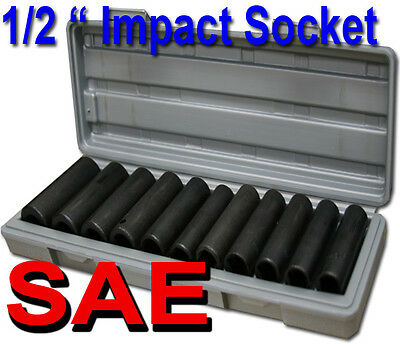 "12pcs 1/2"" Deep Impact Socket Set SAE Mould Case 3/8"", 7/16"", 1/2"", 9/16"", 5/8"""