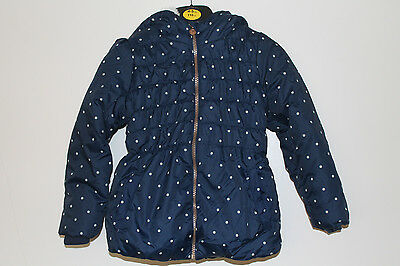 NEW Girls Navy Polka Dot Coat Jacket Age 2-3, 3-4, 4-5, 5-6, 6-7 Years *FREE P&P