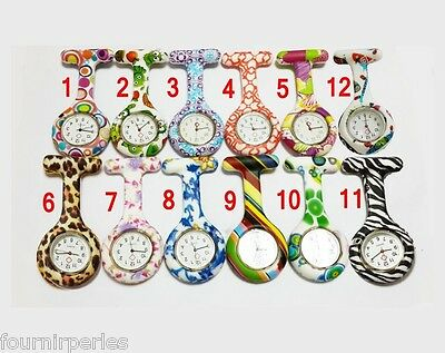Silicone Montre Attache Poche Infirmière Broche Pince Épingle Quartz Floral