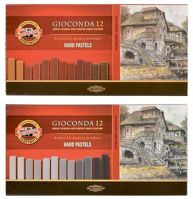 Hard Square PASTEL Chalk Set KOH-I-NOOR Gioconda 8122 Brown Grey For Artists