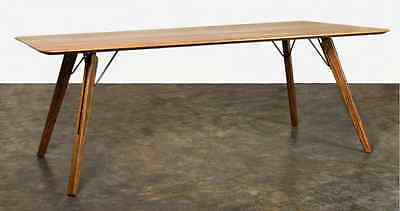 """78"""" W Dining table solid oak wood light brown iron inserts modern design unique"""