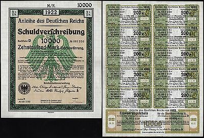 1922 Berlin, Germany: German 10000 Mark Treasury Bond - uncancelled with coupons