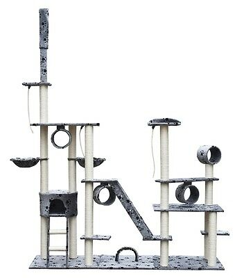 #bNew Cat Tree Scratcher Post Cat Toy Bed Plush Deluxe 230 - 260 cm Grey Pawprin