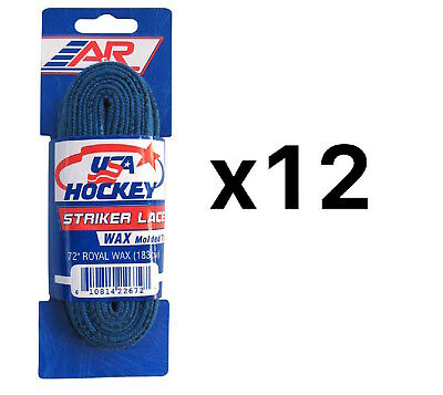 A&R Sports USA Hockey Laces - Waxed Striker Laces - Royal 72 Inches (12-Pack)
