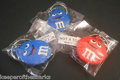 M&M's World Las Vegas Characters Keychain LOT of 3 Blue & Red NEW with Tags