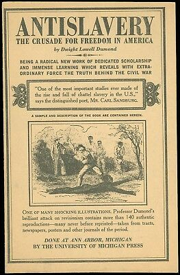 1961 Promotional Brochure for BOOK: ANTISLAVERY by D. L. DUMOND, Illustrations!