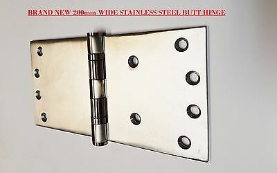HEAVY DUTY WIDE THROW BUTT HINGES SOLID STAINLESS STEEL 3.5mm THICK 100X200mm