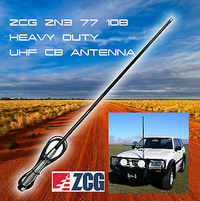 ZCG ZN3-77-10B 6.6dBi HEAVY DUTY REMOVEABLE UHF CB ANTENNA++ BLACK ++