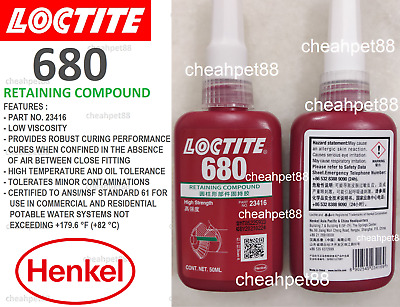LOCTITE 680 High Strength, High Viscosity Retaining Compound 50ml-Free Shipping