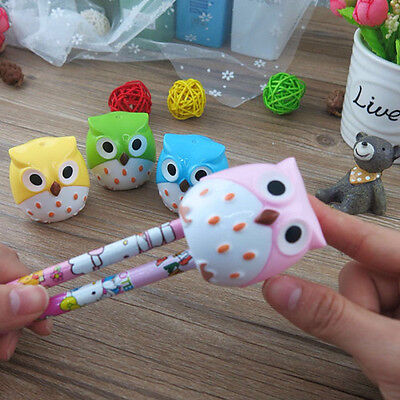 New Chic 2Pcs Cute Lovely Owl Pencil Sharpener Novelty School Kids Stationery