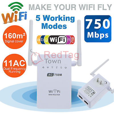 750Mbps Dual Band 2.4/5GHz Wireless Repeater 802.11AC Router WiFi Range Extender
