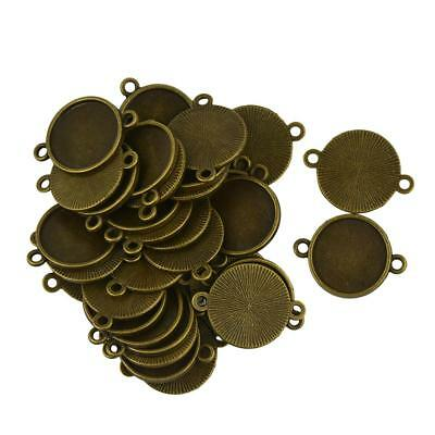 40Pcs Blank Bezel Base for 16mm Cabochon Jewelry DIY Charms Connector Bronze