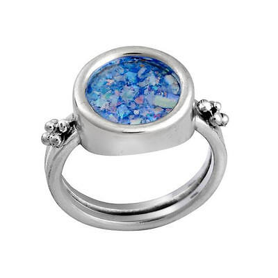 Beautiful Brand New Sterling Silver Ancient Blue Roman Glass Round Stylish Ring
