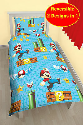 New Nintendo Super Mario 'maker' Single Duvet Quilt Cover Set Boys Kids Bedroom