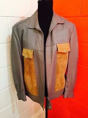 Vintage 1970s Suede & Grey Leather Bomber Jacket Sz XL Lined W Pockets