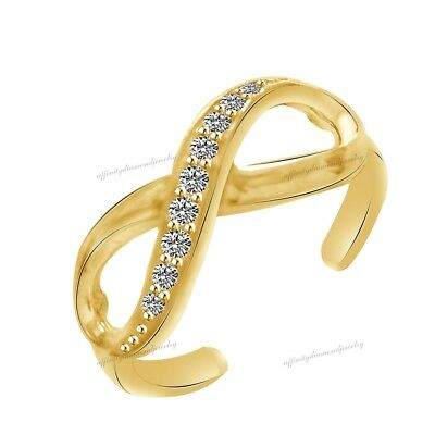 10K Solid Gold Diamond Infinity Toe Ring Adjustable