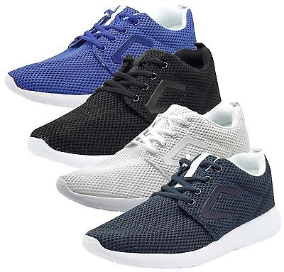 Mens New Crosshatch Designer Mesh Sneakers Lace Up Shoes Low Top Casual Trainers
