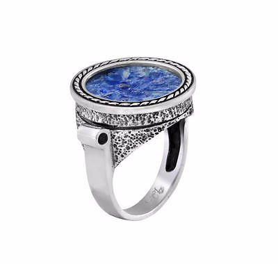 New Sterling Silver Ancient Blue Roman Glass Braded Wire Round Stylish Big Ring