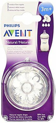 Philips Avent SCF653/27 BPA Free Natural Medium Flow Nipples, 2 Count Size 3m+