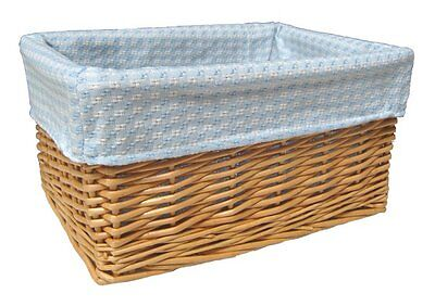 NATURAL WICKER BASKET Nursery Storage Gift Hamper & BLUE GINGHAM Cotton Lining