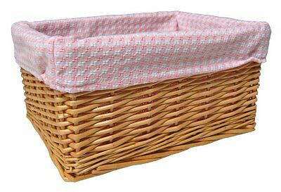 NATURAL WICKER BASKET Nursery Storage Gift Hamper & PINK GINGHAM Cotton Lining