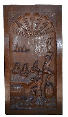 French 19th.c Large Hand Carved Oak Wood Panel Frame Picture - Tavern Bar