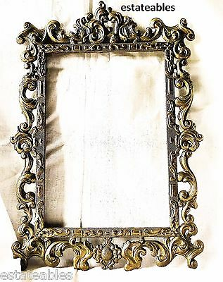 Vintage   Frame, Made In Italy, Depose Ornate Metal Gold Colored