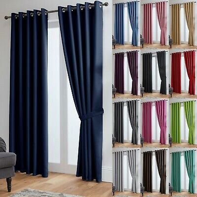 Thermal Blackout Curtains Ready Made Eyelet Curtains - Dimout Energy Saving