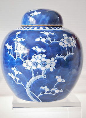 Chinese Blue & White Ginger Jar Cherry Blossom/ Double Circle Mark/ 20th Century