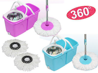 360° Rotating Easy Wring Spin Spinning Mop Floor Bucket Set 2 Microfibre Heads