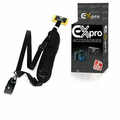 Ex-Pro® BLACK Soft Padded Quick Sling Rapid Camera Shoulder Strap for DSLR SLR