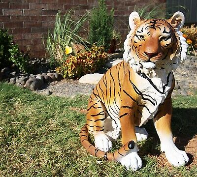"Large 20"" Tall Sitting Orange Bengal Tiger Guardian Decorative Resin Statue"