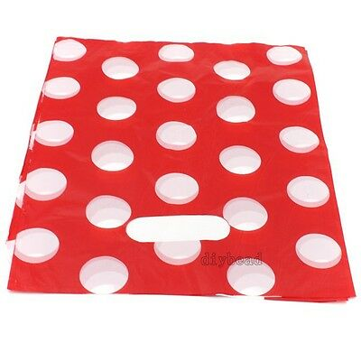 100pcs Wholesale White Dot Red Carrier Bags Gift Shopping Package Plastic Bag J