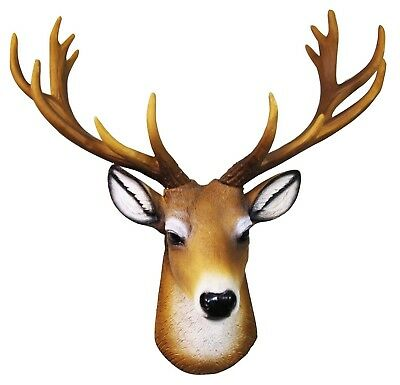 "14""H Buck Deer Head Bust Hanging Wall Hanging Mount Home Decor Statue Figurine"
